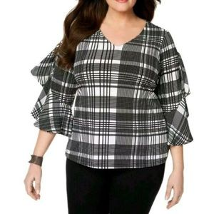 L Charter Club V-neck bell sleeve black white top